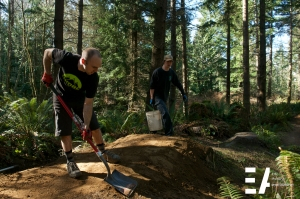 Justin, Dale and Garrett were working on the new connector into the trail.