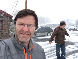 Greg and I during a snowstorm.