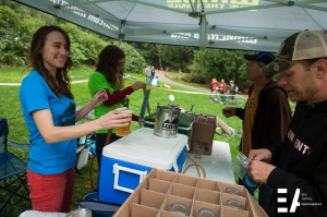 Becky Kurle and Michelle Stiles pouring beers for racers and spectators. Thanks to Boundary Bay, Kulshan, Aslan and Chuckanut Breweries for their support!
