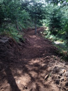 Newly benched section to route above the muddy zone on Wonderland.