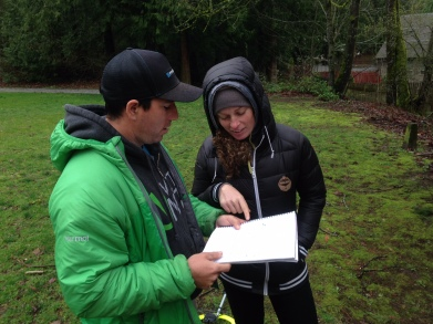 Steve Wentz and Jill Kintner sketching up initial designs at Whatcom Falls.