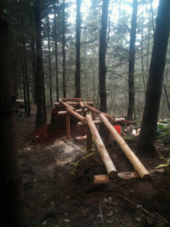 Posts, cross pieces and stringers getting into place on the Evolution stump drop.