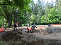 Hayden, Jake and Brandon getting the expert berm packed in.
