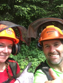Thumbs up to a day of cutting corridor on Stewart Mountain!