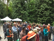 The crowd gathers for the opening ceremony of National Trails day.