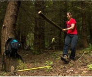Barbara moving cut timber from the corridor on national trails day.